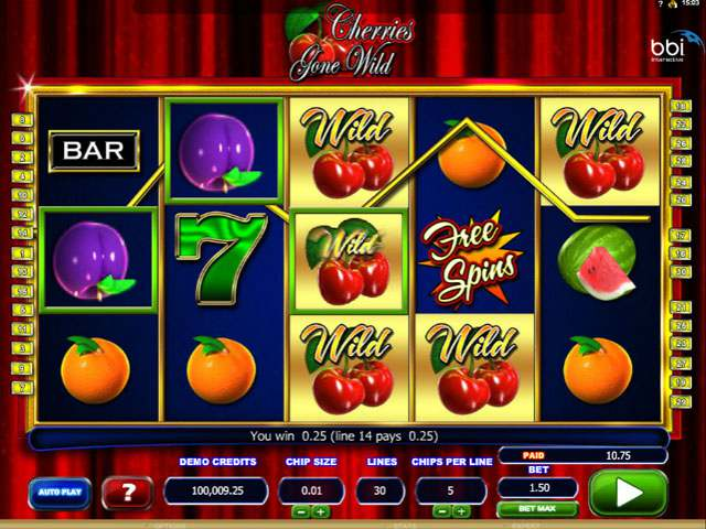 Cherries Gone Wild Microgaming spilleautomater screenshot