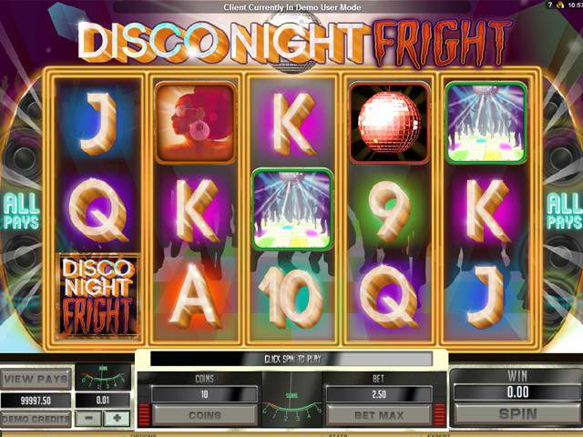 Disco Night Fright Microgaming spilleautomater screenshot