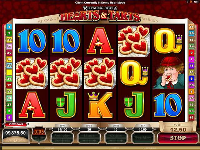 Rhyming Reels - Hearts & Tarts Microgaming spilleautomater screenshot
