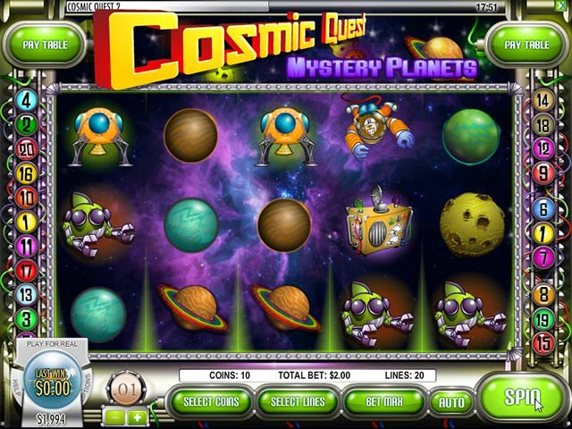 Norske Spilleautomater Cosmic Quest: Mystery planets, Rival SS - Himmelspill.com