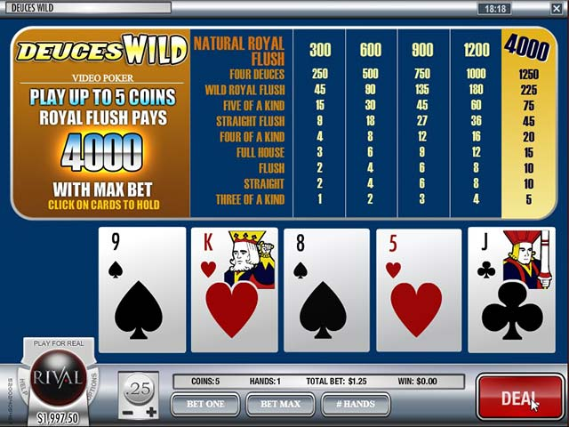 Video poker Deuces Wild, Rival SS - Himmelspill.com