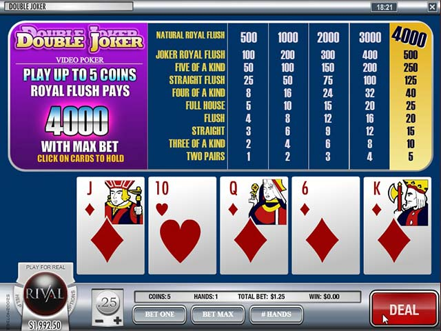 Video poker Double Joker, Rival SS - Himmelspill.com