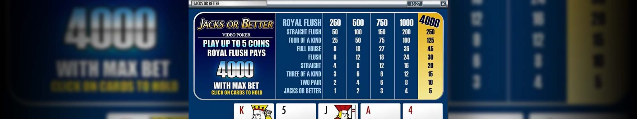 Video poker Jacks or Better, Rival Slider - Himmelspill.com