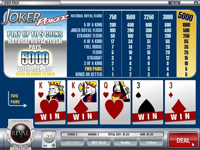 Video poker Joker Poker, Rival SS - Himmelspill.com