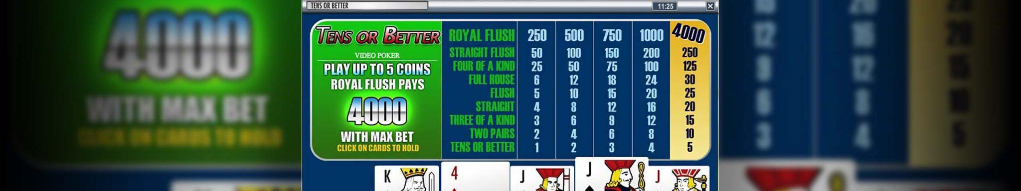 Video poker Tens Or Better, Rival Slider - Himmelspill.com