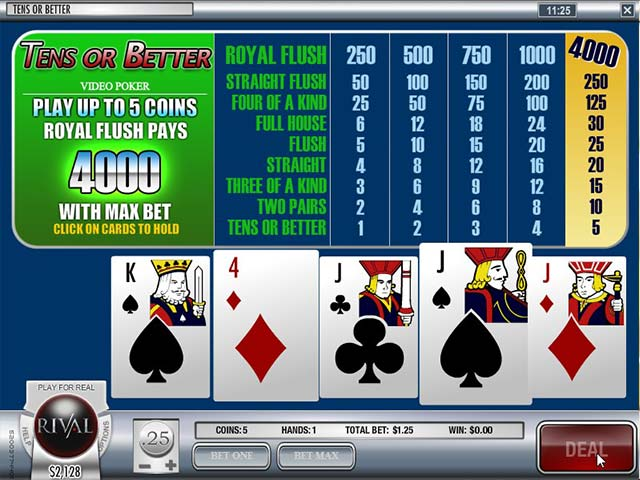 Video poker Tens Or Better, Rival SS - Himmelspill.com