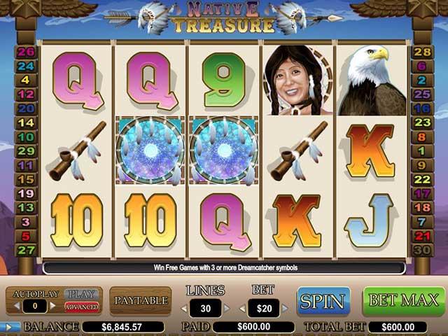 Norske spilleautomater Native Treasure, Cryptologic SS - Himmelspill.com