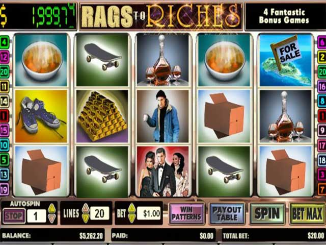 Norske spilleautomater Rags to Riches 20 Line, Cryptologic SS - Himmelspill.com